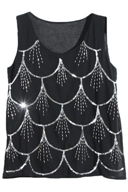 Sequined fish scales black sleeveless shirtfor women romwe for Fish scale shirt
