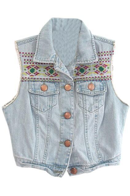 Buttoned Ethnic Embroidered Light-blue Vest