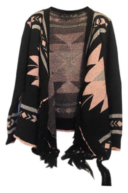 Tassel Embellished Geometric Pattern Black Cardigan