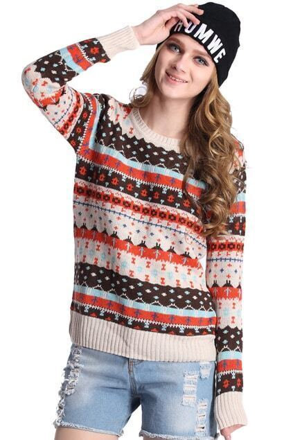 Retro Ethnic Striped Jumper