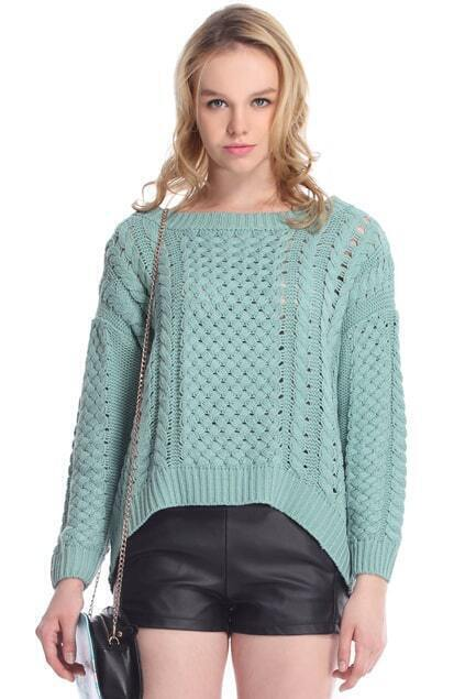 Asymmetric Cut-out Green Jumper