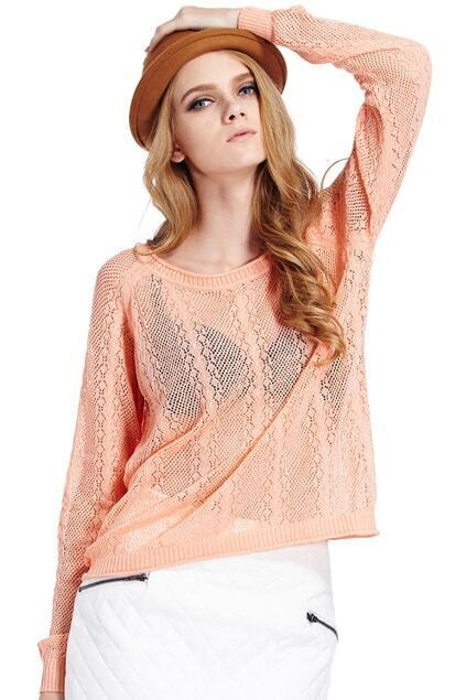 Hollowed Dolman Sleeves Orange Jumper