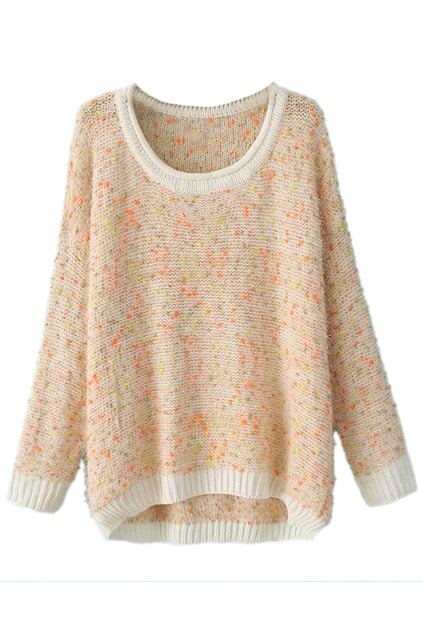 Contrast Trimming Asymmetric Loose Pink Jumper