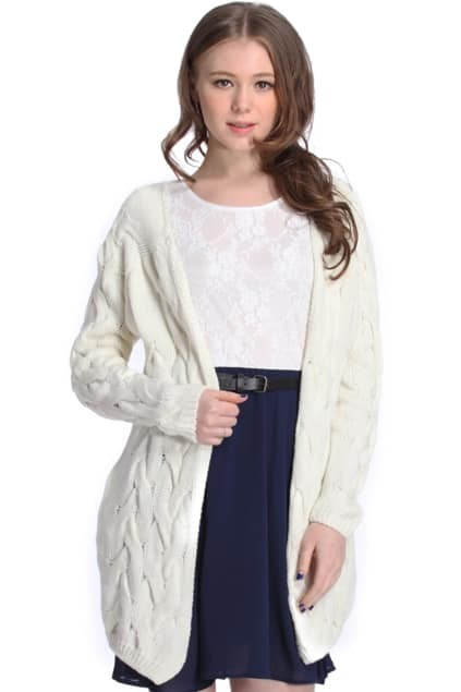 Twisted Buttonless White Cardigan
