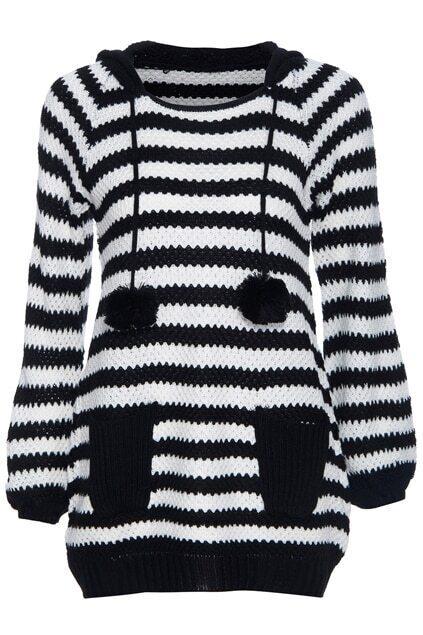 Striped Hooded Fluffy Ball Black Jumper