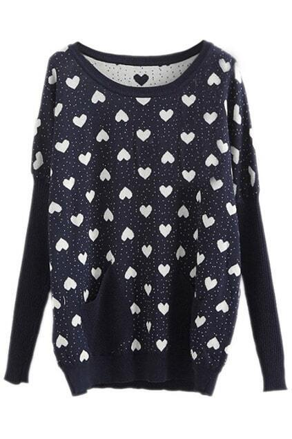 Navy Long Sleeve Hearts Pattern Loose Jumper