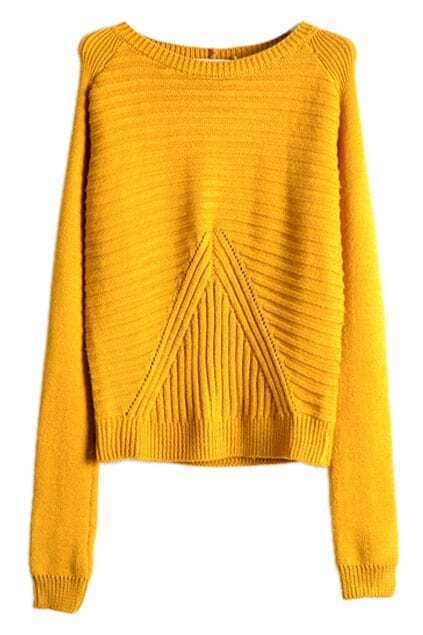 Asymmetric Striped Loose Yellow Jumper