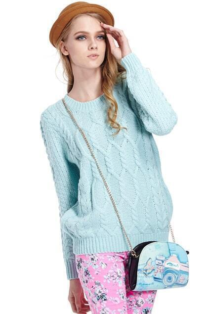 Twisted Knited Loose Mint Jumper