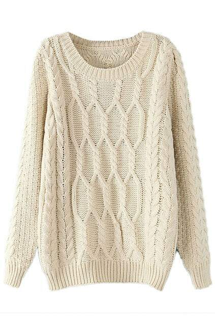 Twisted Knited Loose Cream Jumper