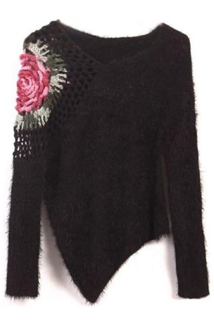 Cut-out Rose Crochet Black Jumper
