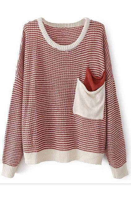 Color Block Striped Long Sleeves Red Jumper