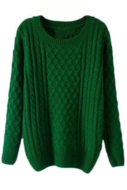 ROMWE Rhombus Knit Green Jumper