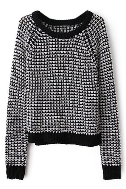 ROMWE Contrast Trimming Houndstooth Print Jumper