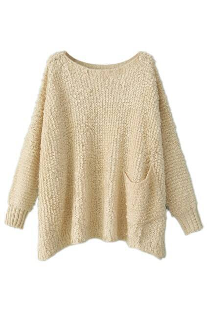 ROMWE Loose Sheer Cream Jumper