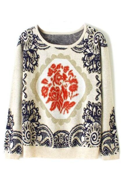 ROMWE Totem Knitted Long Sleeves Cream Jumper