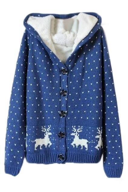 ROMWE Christmas Sweater Deer & Heart Knitted Hooded Long Sleeves Blue Cardigan