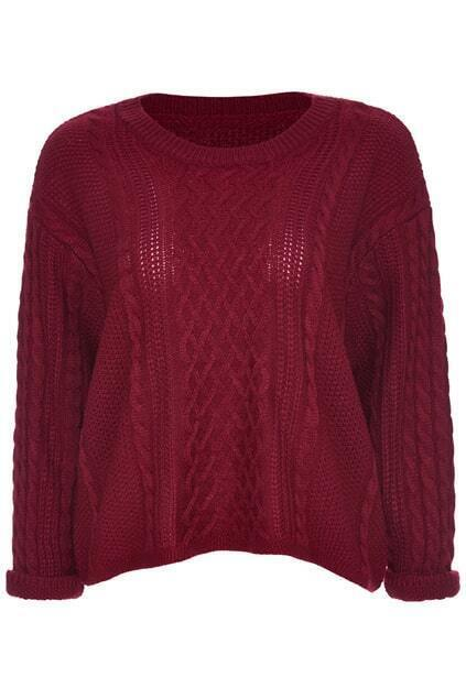 ROMWE Twisted Folded Cuffs Burgundy Jumper