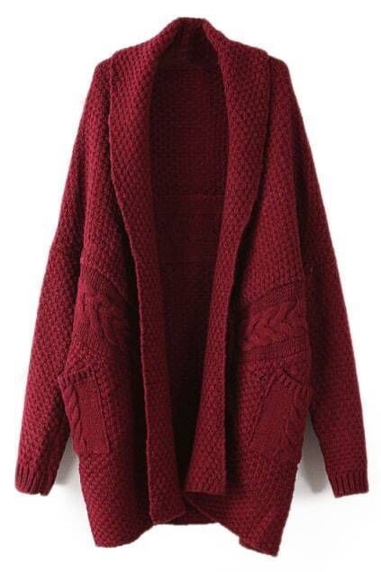 ROMWE Twisted Buttonless Burgundy Cardigan