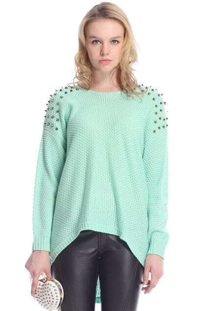 Rivets Embellished Green Knitted Jumper
