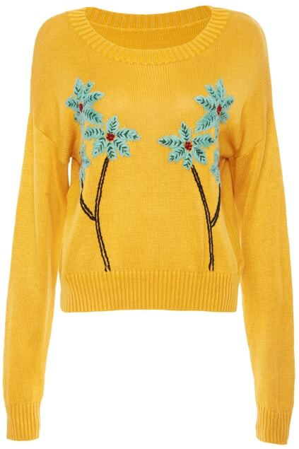 Green Floral Embroidery Yellow Knitted Jumper