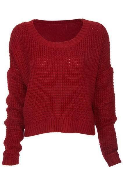 Burgundy Knitted Short Jumper