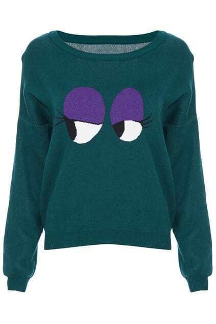 ROMWE Knitted Purple Eyes Long-sleeved Green Jumper