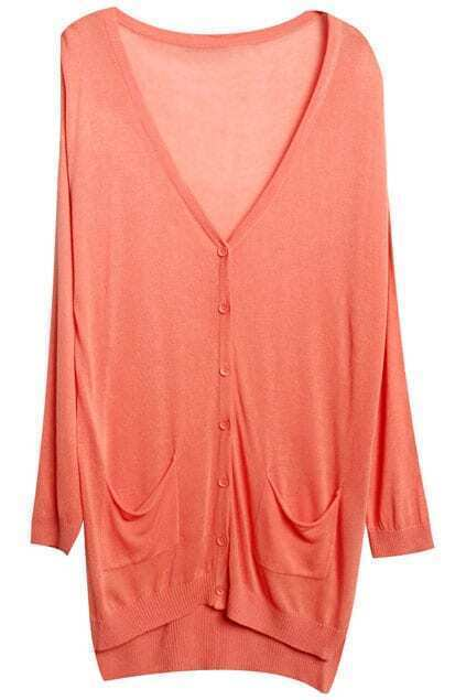 Asymmetric V-neck Orange Sunscreen Cardigan