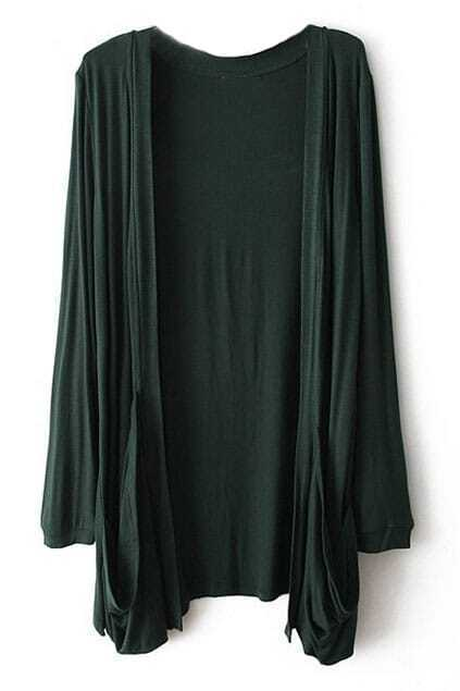 Loose Buttonless Pocketed Dark-green Cardigan