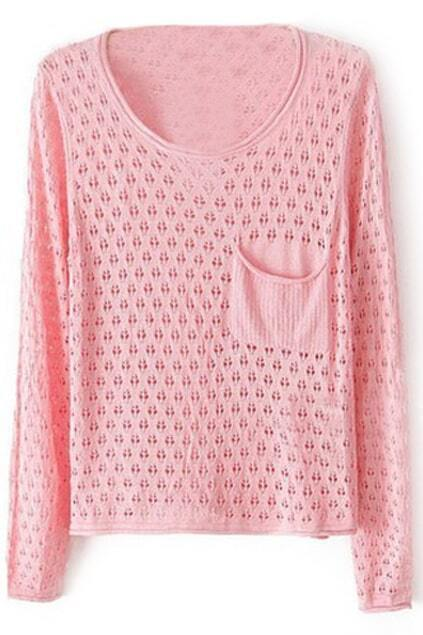 Cut-out Pocketed Pink Jumper