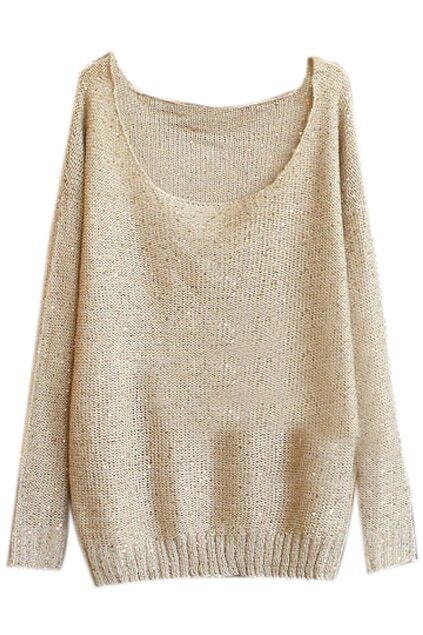 Sequins Embellished Light Coffee Jumper