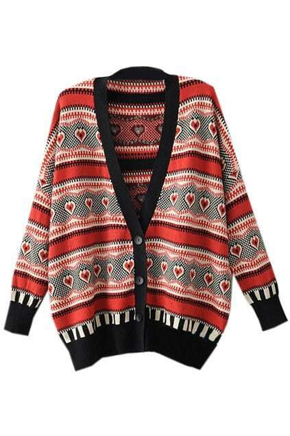 V-neck Ethnic Red Cardigan