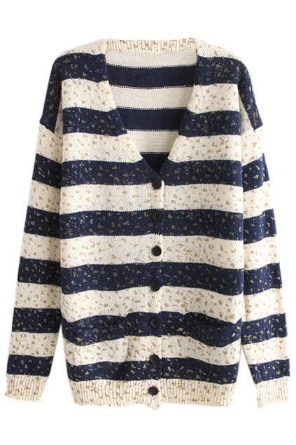 Bronzing Stripe Buttoned Blue Cardigan