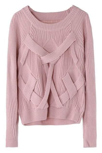 Crossed Strips Pink Jumper