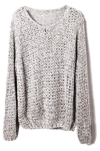 Hollow-out Loose Sheer Grey Jumper