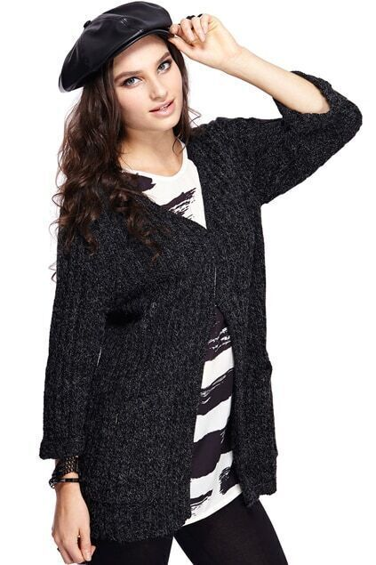 Pocketed Buttoned Black Cardigan