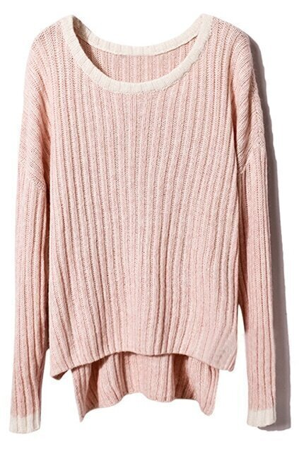 Color Block Asymmetric Dark Pink Jumper