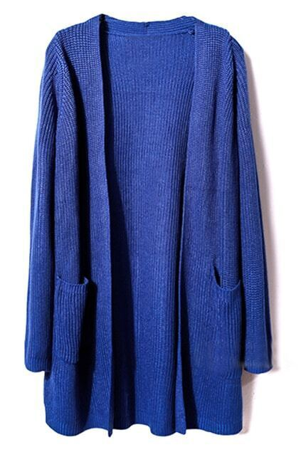 Buttonless Loose Blue Cardigan