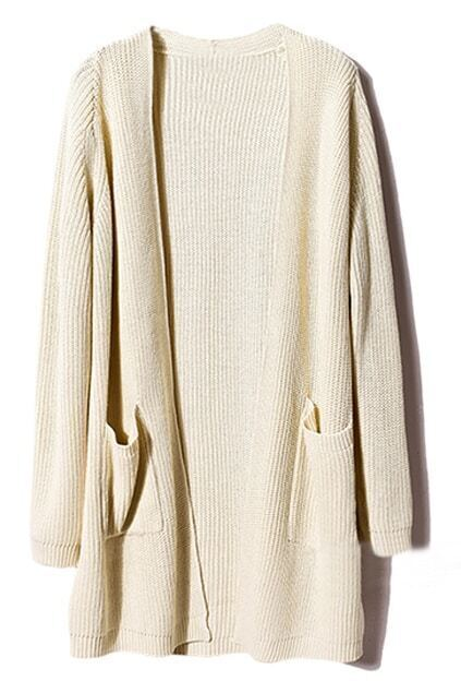 Buttonless Loose Cream Cardigan