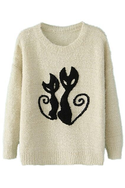 ROMWE Cats Pattern Thicken White Jumper