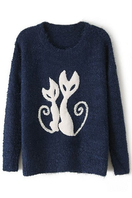 ROMWE Cats Pattern Thicken Blue Jumper