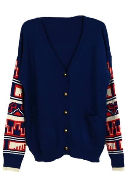 Buttoned Geometric Pattern Knitted Blue Cardigan