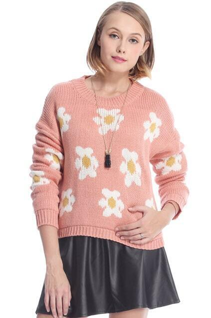 Daisy Knitted Pink Jumper