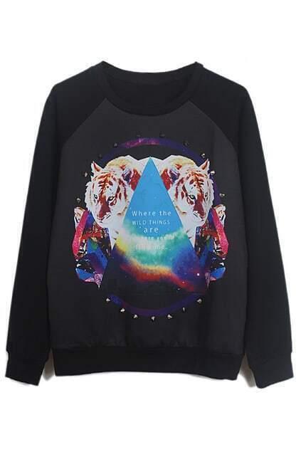 Black Long Sleeve Triangle Tigers Print Rivet Sweatshirt
