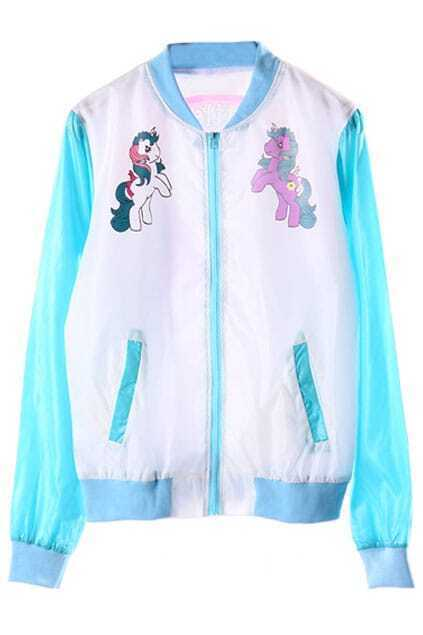 Unicorns Print Elastic Zippered Blue Jacket