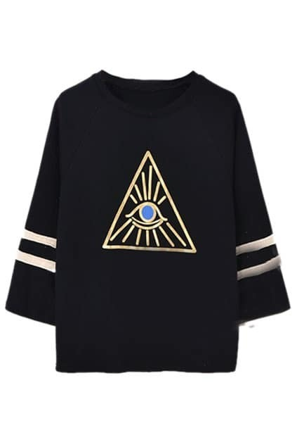 Triangle&Eye Print Cropped Black Sweatshirt