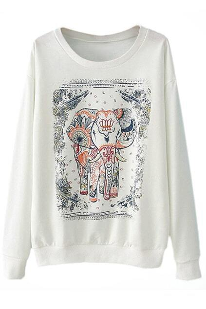 Elephant Floral White Sweatshirt