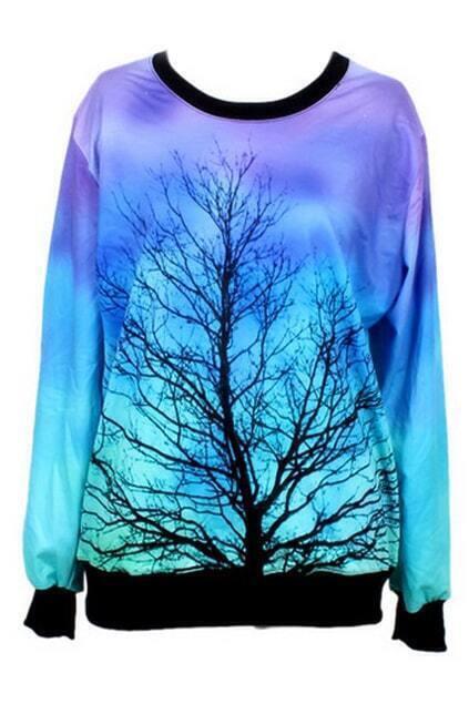 Moonlight&Tree Print Sweatshirt