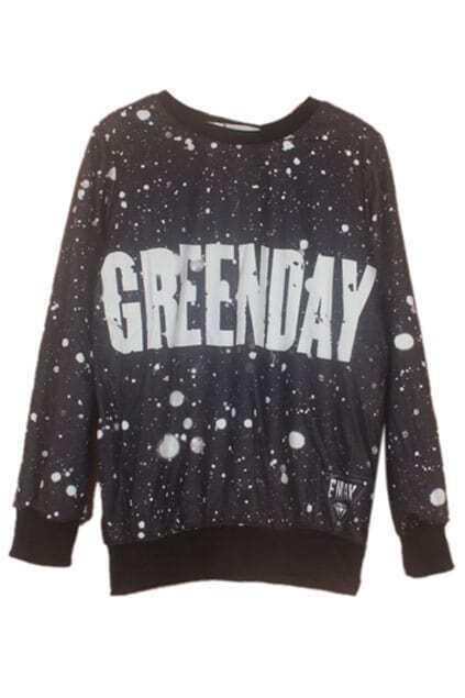 Letters & Snowflake Print Sweatshirt