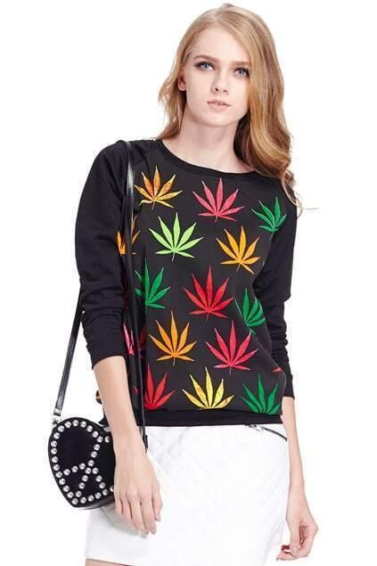 Colorful Maple Leaf Print Sweatshirt
