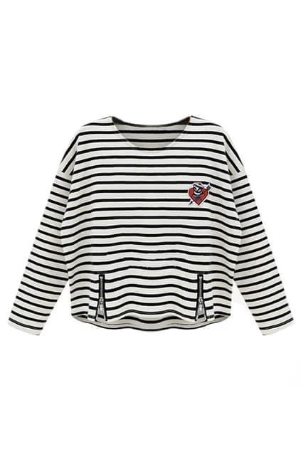 Zippered Striped Black Midriff T-shirt